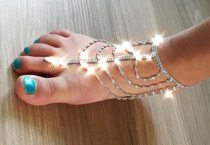 Ankle / foot bracelet silver with adjustable ring - silver