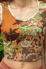 Flower print batik tank top in brown