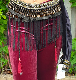 Tribal hip scarf with fringes in black