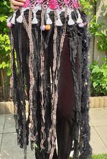 Sakkara Tribal  Hüfttuch in fuchsia schwarz