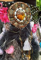 Tribal hip scarf in fuchsia/black