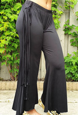 Black pants with stripes of fabric