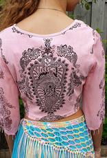 Pfauen-Shirt mit Perlchen-ärmel