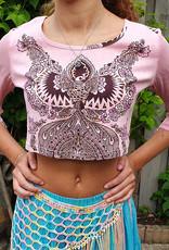 Sakkara Pfauen-Shirt mit Perlchen-ärmel