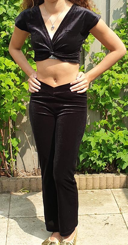 Set velvet crop top and pants