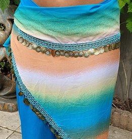 Hip scarf triangle turquoise / orange
