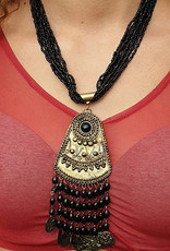 Necklace amulet and earrings