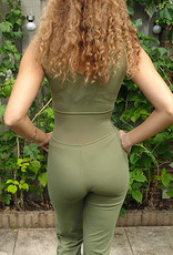 Belly dance catsuit sleeveless olive 2XL/3XL