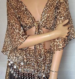 Wrap top in leopard print