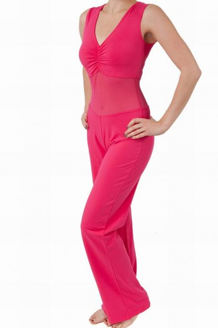 Catsuit sleeveless with strong mesh  fuchsia