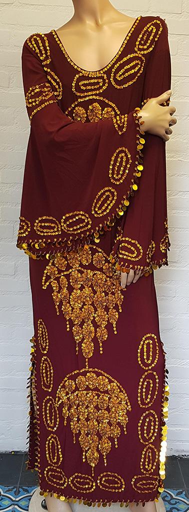 Saidi-Kleid in bordeaux gold oder silber