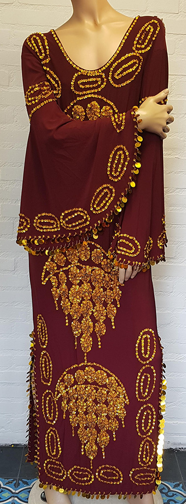 Saidi-Kleid in bordeaux