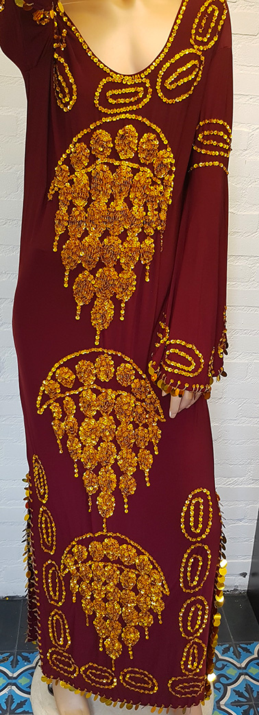 Saidi dress in bordeaux gold and silver