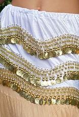 Velvet hip scarf white with gold coins
