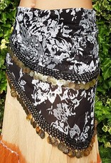 Hip scarf black-white with flowers