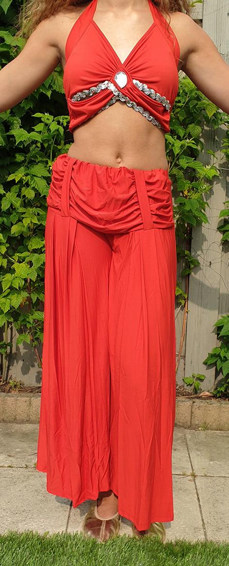 Sakkara Dehnbare Hose mit Raffbund in rot