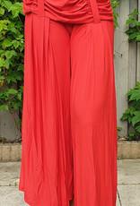 Dehnbare Hose mit Raffbund in rot