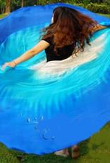 Silk veil half round blue turquoise white