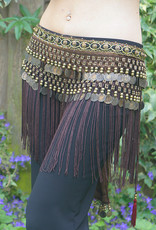 Tribal hip scarf with fringes in brown