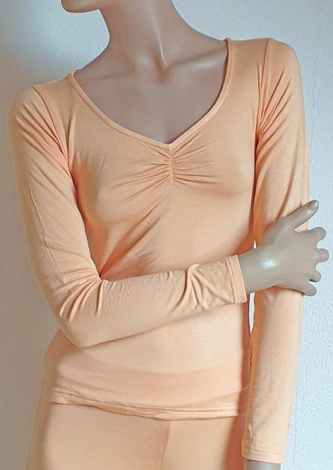 Yoga shirt long sleeve peach