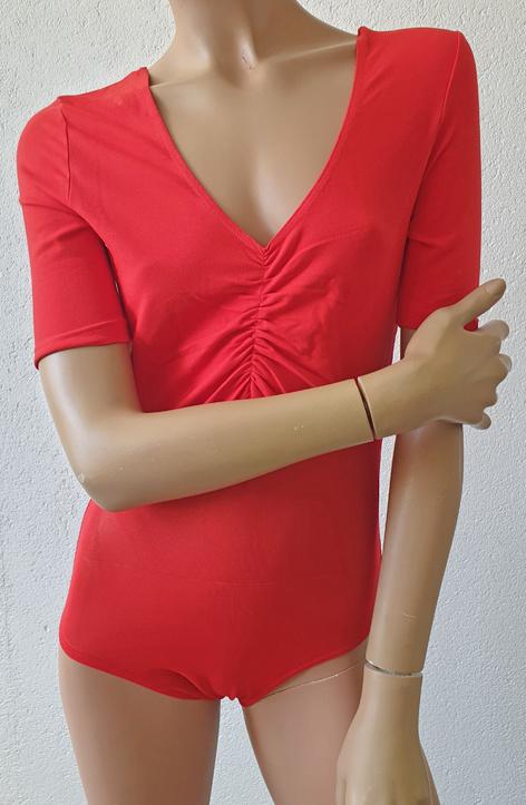 Body mit Netz in rot, Grösse S