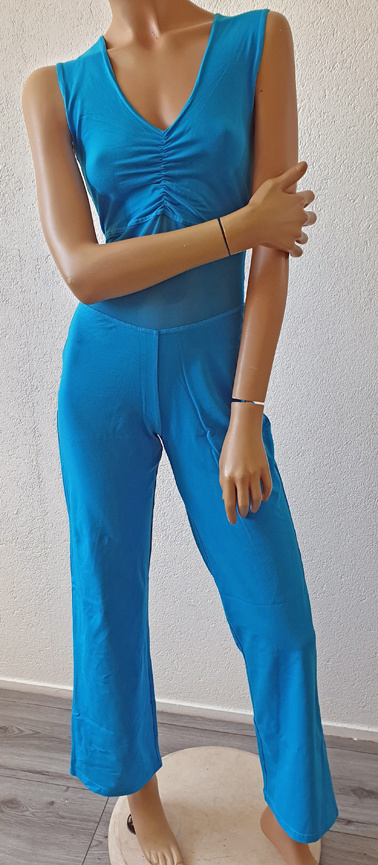 Belly dance catsuit sleeveless turquoise 3XL