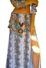 "Belly dance costume ""Sara"" in white/reptile print"
