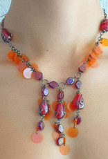 Necklace with glass stones and plastic sequins