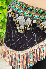 Hip scarf with fringes in black with turquoise accents