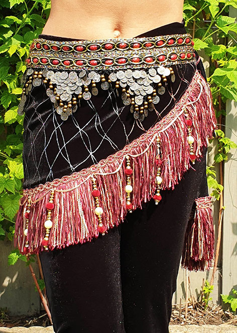 Hipscarf with Fringe in light red