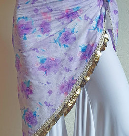 Hip scarf triangle white  lilac with gold coins