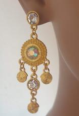 Ohrringe mit klare Strass-steine in Gold