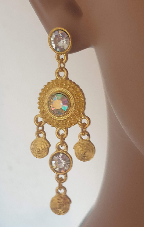 Sakkara Ohrringe mit klare Strass-steine in Gold