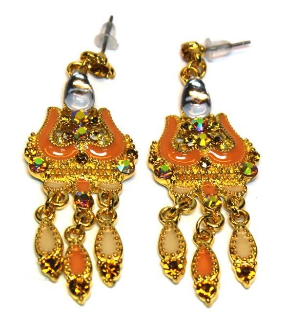 Bollhywood style earrings orange gold with rhinestones