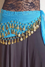 Hip scarf turquoise with gold coins