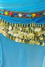 Hüfttuch in hellblau mit Steinen und münzen