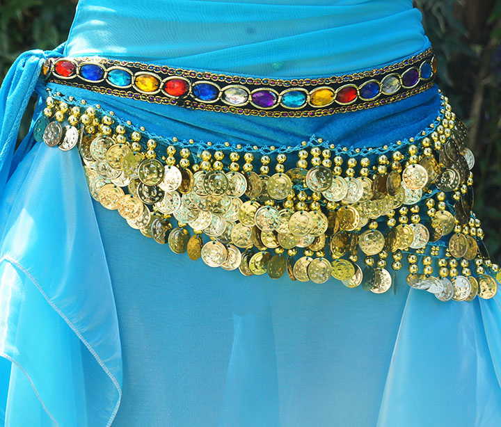 Hipscarf turquoise with colored stones and gold coins