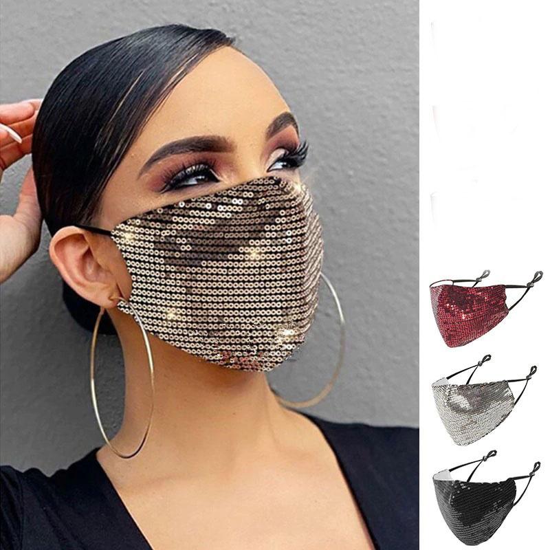 Gesichtsmaske / Mundschutz mit Pailletten