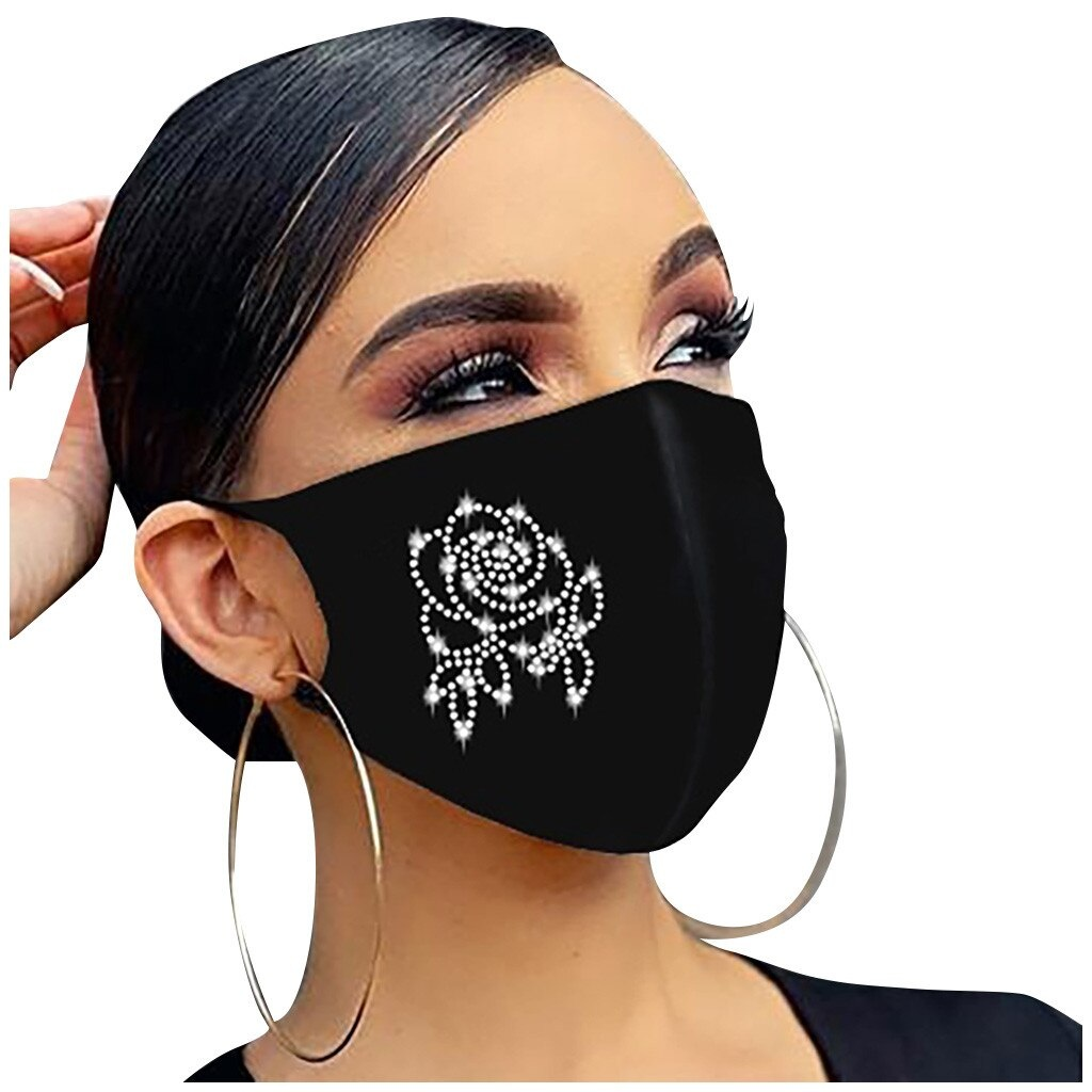 Mouth mask black with rhinestones