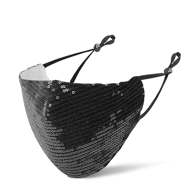 Mouth mask with small sequins