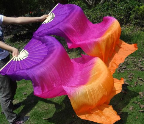 Fächerschleier / Fan-Schleier aus Seide in lila pink orange