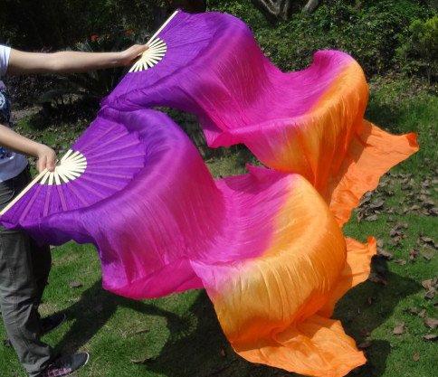 Silk belly dance fan veils in purple fuchsia orange