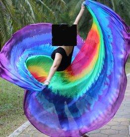 Silk veil half round tie dye rainbow