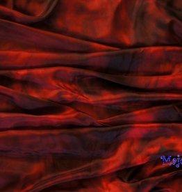 Bauchtanzschleier aus Seide in rot / schwarz