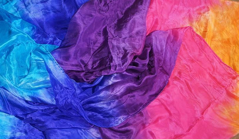 Silk veil half round orange fuchsia  purple blue turquoise
