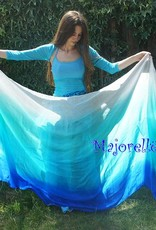 Silk belly dance veil blue peacock green turquoise white