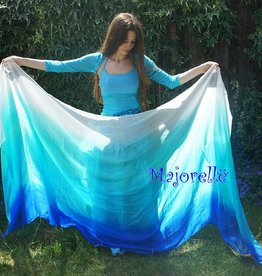 Silk belly dance veil blue peacock green turquoise white