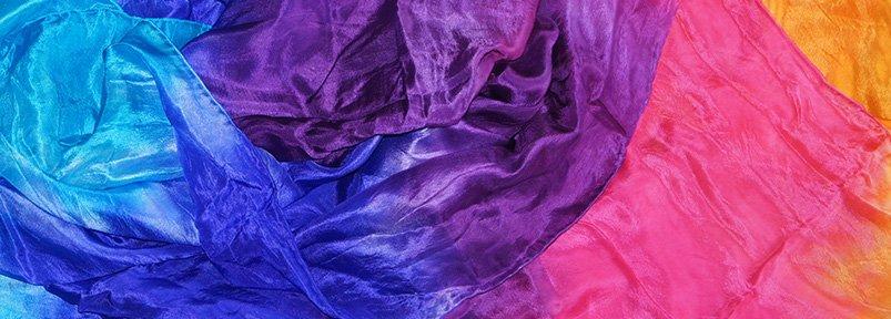 Seiden Schleier orange fuchsia lila blau türkis