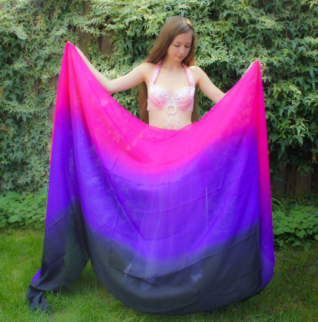 Silk belly dance veil in black purple fuchsia