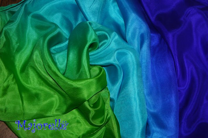 Silk belly dance veil blue turquoise green
